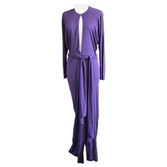 Halston 1970's Purple Jersey Disco Era Keyhole Dress with HIgh Slit and Sash