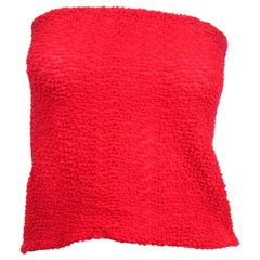 Halston 1970s Vintage Strapless Red Stretch Tube Top