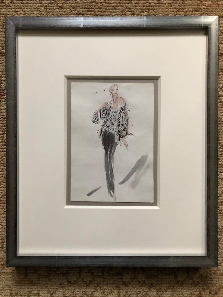 Gray Halston 1983 Original Fashion Illustration Beaded Feather Ensemble by Sui Yee For Sale