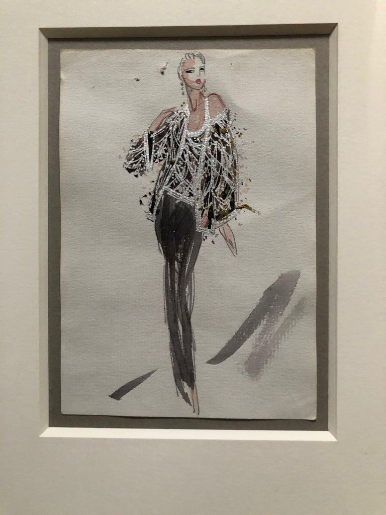 Halston 1983 Original Fashion Illustration Beaded Feather Ensemble by Sui Yee In Excellent Condition For Sale In San Francisco, CA