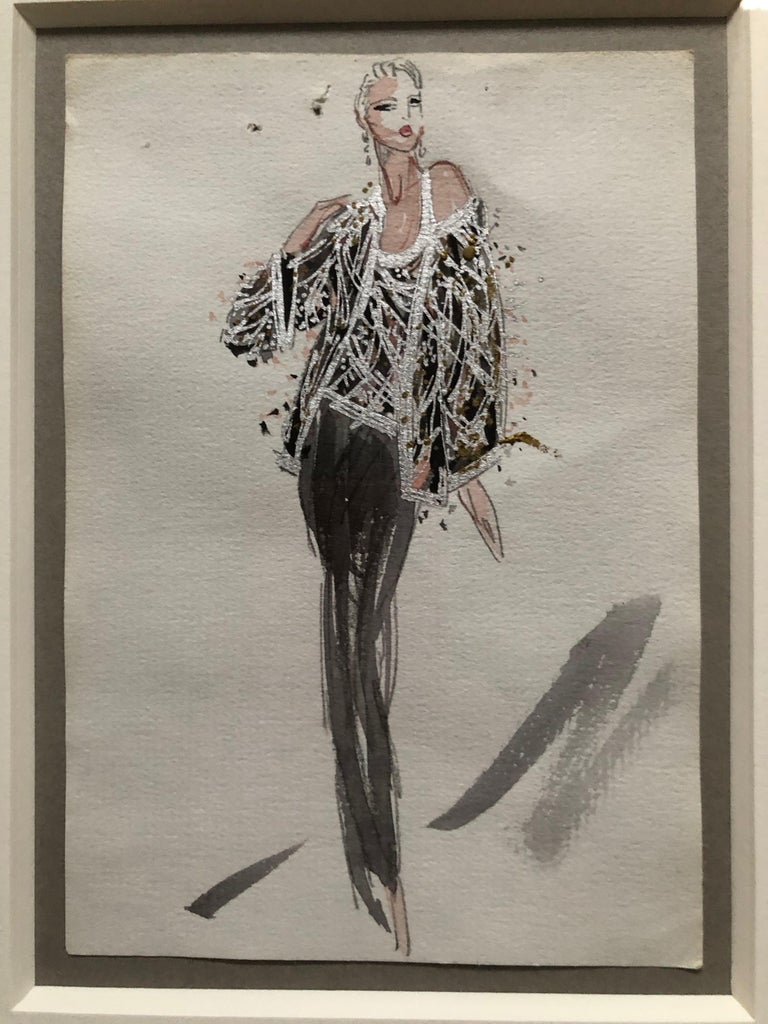 Women's Halston 1983 Original Fashion Illustration Beaded Feather Ensemble by Sui Yee For Sale