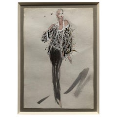 Halston 1983 Original Fashion Illustration Beaded Feather Ensemble by Sui Yee