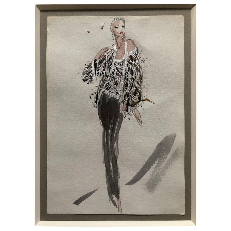 Halston 1983 Original Fashion Illustration Beaded Feather Ensemble by Sui Yee For Sale