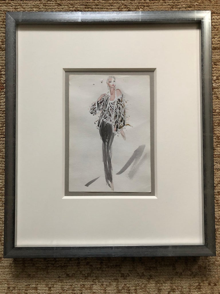 Halston 1983 Original Fashion Illustration Beaded Feather Ensemble by Sui Yee. Halston was unique in that he had each design illustrated by an in house artist. Joe Eula captured the spirit beautifully until 1980, and another talented artist named