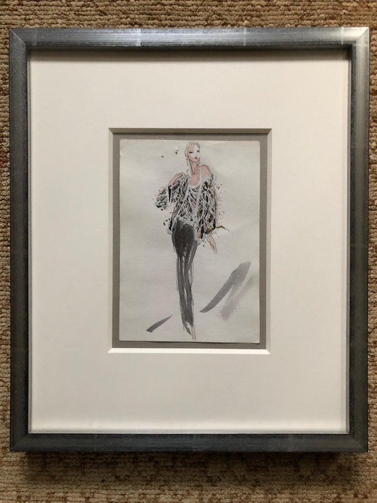 Gray Halston 1983 Original Fashion Illustration Beaded Feather Ensemble