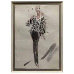 Halston 1983 Original Fashion Illustration Beaded Feather Ensemble