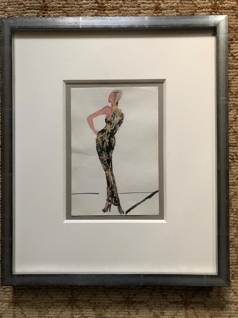 Gray Halston 1983 Original Fashion Illustration or Beaded Fireworks Dress by Sui Yee For Sale