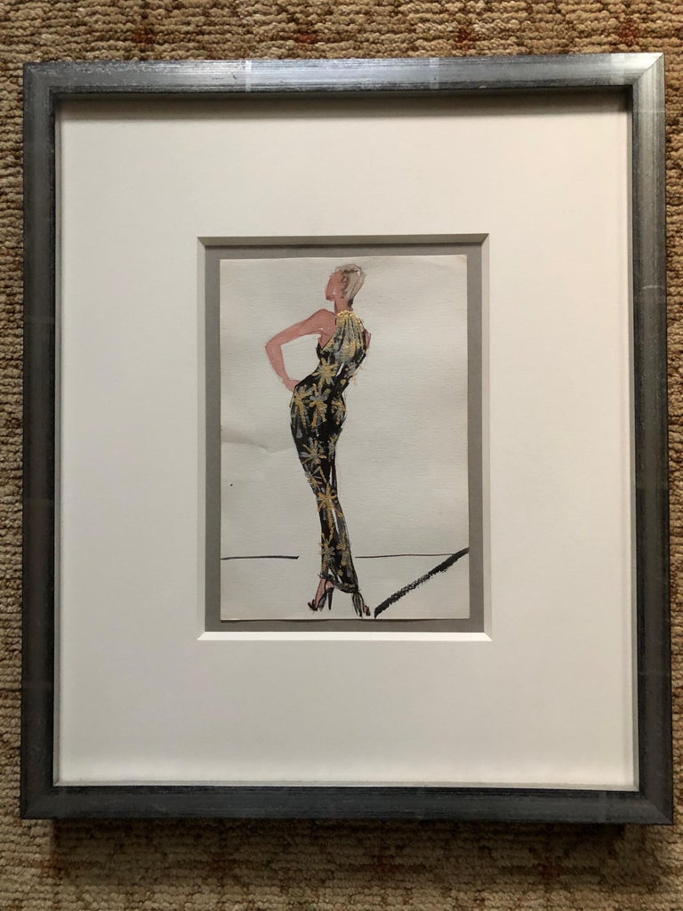 Halston 1983 Original Fashion Illustration or Beaded Fireworks Dress by Sui Yee In Excellent Condition For Sale In San Francisco, CA
