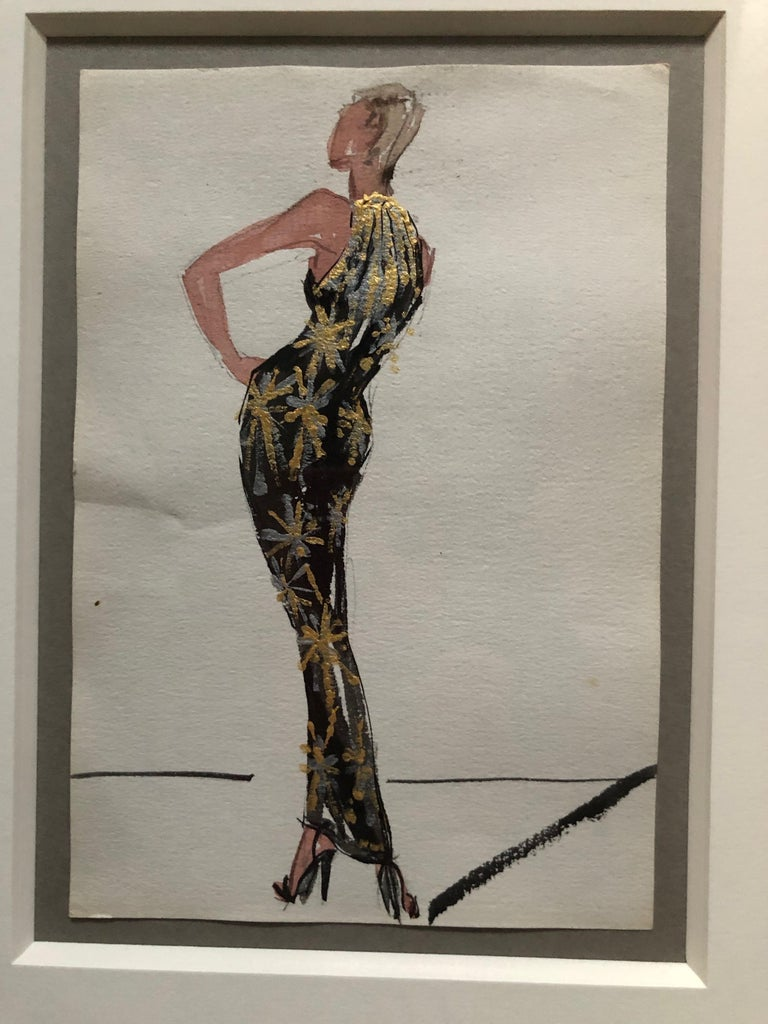 Halston 1983 Original Fashion Illustration or Beaded Fireworks Dress by Sui Yee For Sale 1