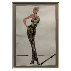 Halston 1983 Original Fashion Illustration or Beaded Fireworks Dress by Sui Yee
