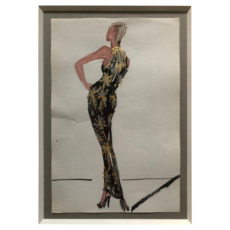 Halston 1983 Original Fashion Illustration or Beaded Fireworks Dress by Sui Yee For Sale