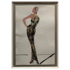 Halston 1983 Original Fashion Illustration or Beaded Fireworks Dress