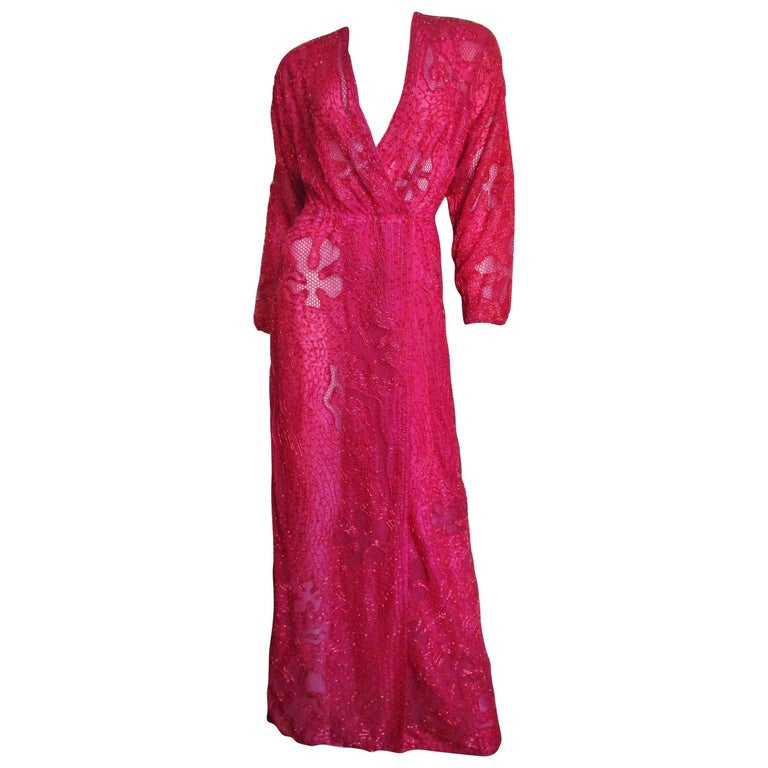 Halston Beaded 1970s Wrap Plunge Gown For Sale