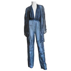 Halston Beaded Plunge Halter Jumpsuit and Jacket 1970s