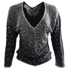 Halston Black Embellished Silk Blouse Evening Wear Montaldo's 1970s Size M