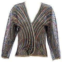 Halston Black Mesh Embroidered Multi-Colored Sequin Jacket, Circa: 1970's