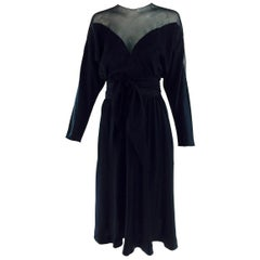 Halston black silk and chiffon silk bias cut cocktail dress 1970s