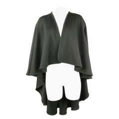 HALSTON Black Wool Poncho Cape One Size