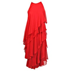 Halston Bright Red Tiered Chiffon Cocktail Dress, 1970s