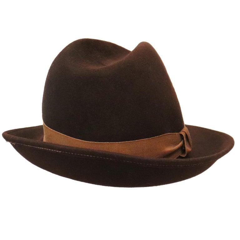 Black Halston Brown Felt Hat W/ Ribbon Trim Circa 1980s For Sale