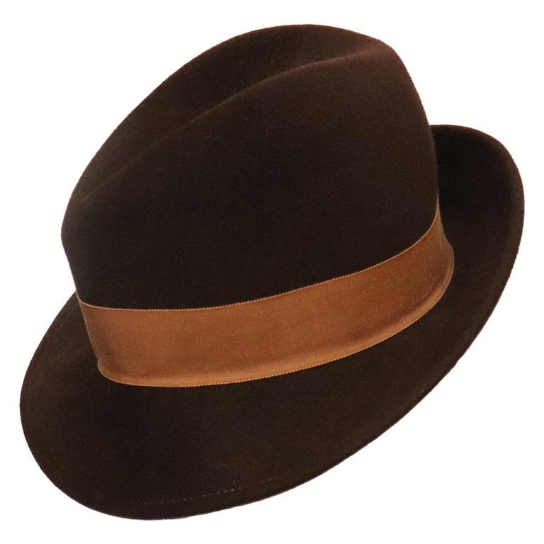 Halston Brown Felt Hat W/ Ribbon Trim Circa 1980s For Sale