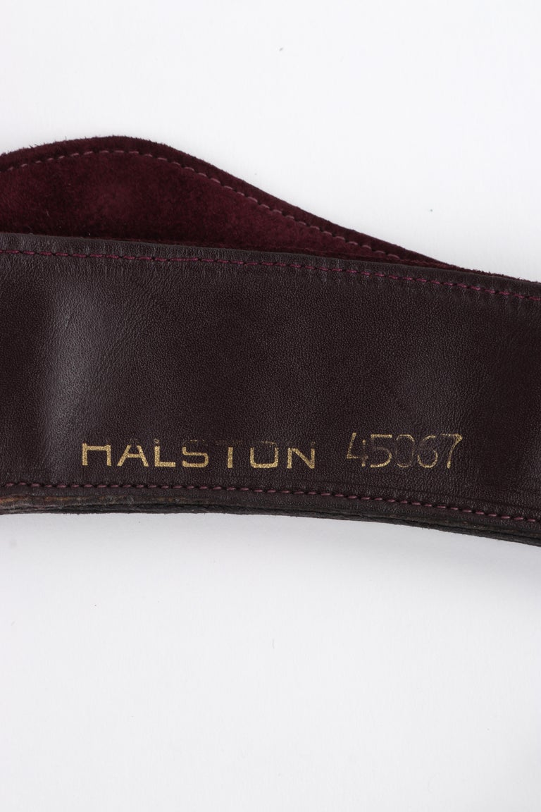 HALSTON c.1970's Burgundy Suede Leather Art Deco Avant Garde Tied Obi Waist Belt For Sale 5