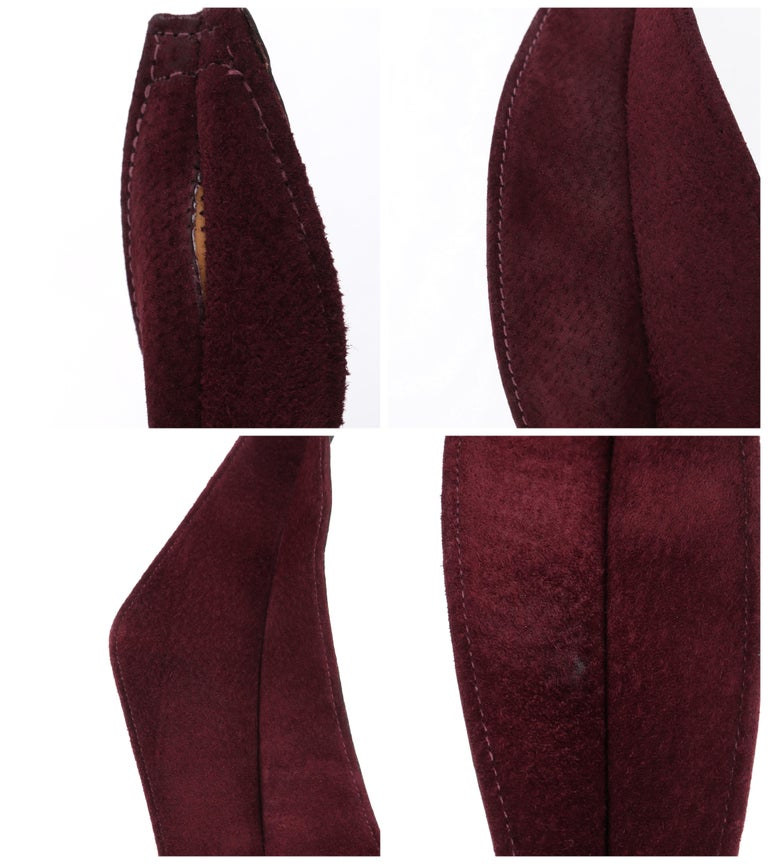 HALSTON c.1970's Burgundy Suede Leather Art Deco Avant Garde Tied Obi Waist Belt For Sale 6