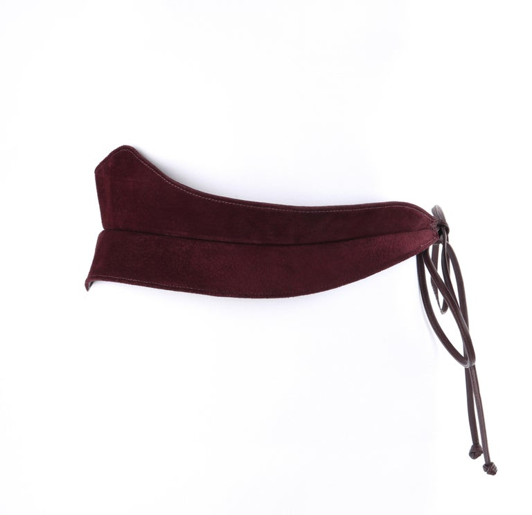 HALSTON c.1970's Burgundy Suede Leather Art Deco Avant Garde Tied Obi Waist Belt In Good Condition For Sale In Thiensville, WI