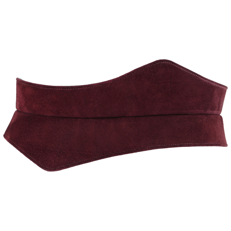 HALSTON c.1970's Burgundy Suede Leather Art Deco Avant Garde Tied Obi Waist Belt