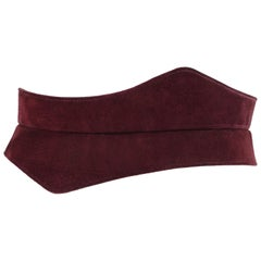 HALSTON c.1970's Burgundy Suede Leather Art Deco Avant Garde Tied Obi Waist Belt