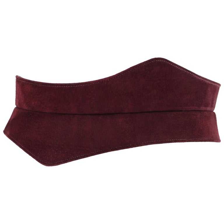 HALSTON c.1970's Burgundy Suede Leather Art Deco Avant Garde Tied Obi Waist Belt For Sale