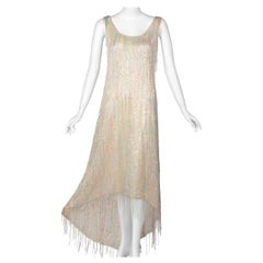 Halston Couture Pastel Rainbow Hand Beaded -Sequin Silk Dress Gown, 1970s