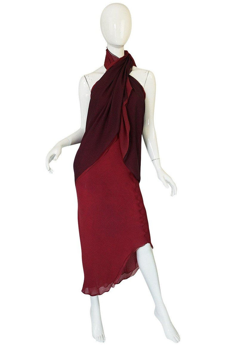 Halston Couture Silk Chiffon Dress and Shawl Overlay, circa 1973  For Sale 5
