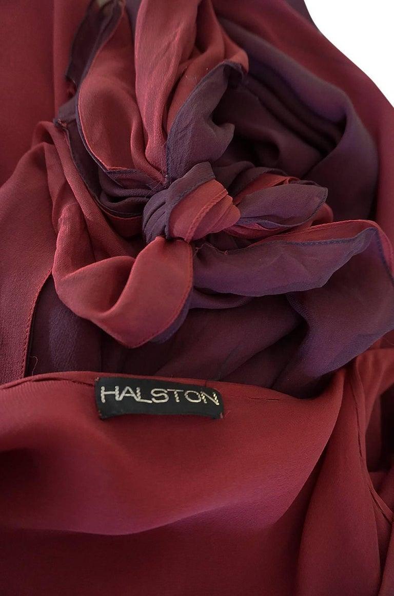 Halston Couture Silk Chiffon Dress and Shawl Overlay, circa 1973  For Sale 7