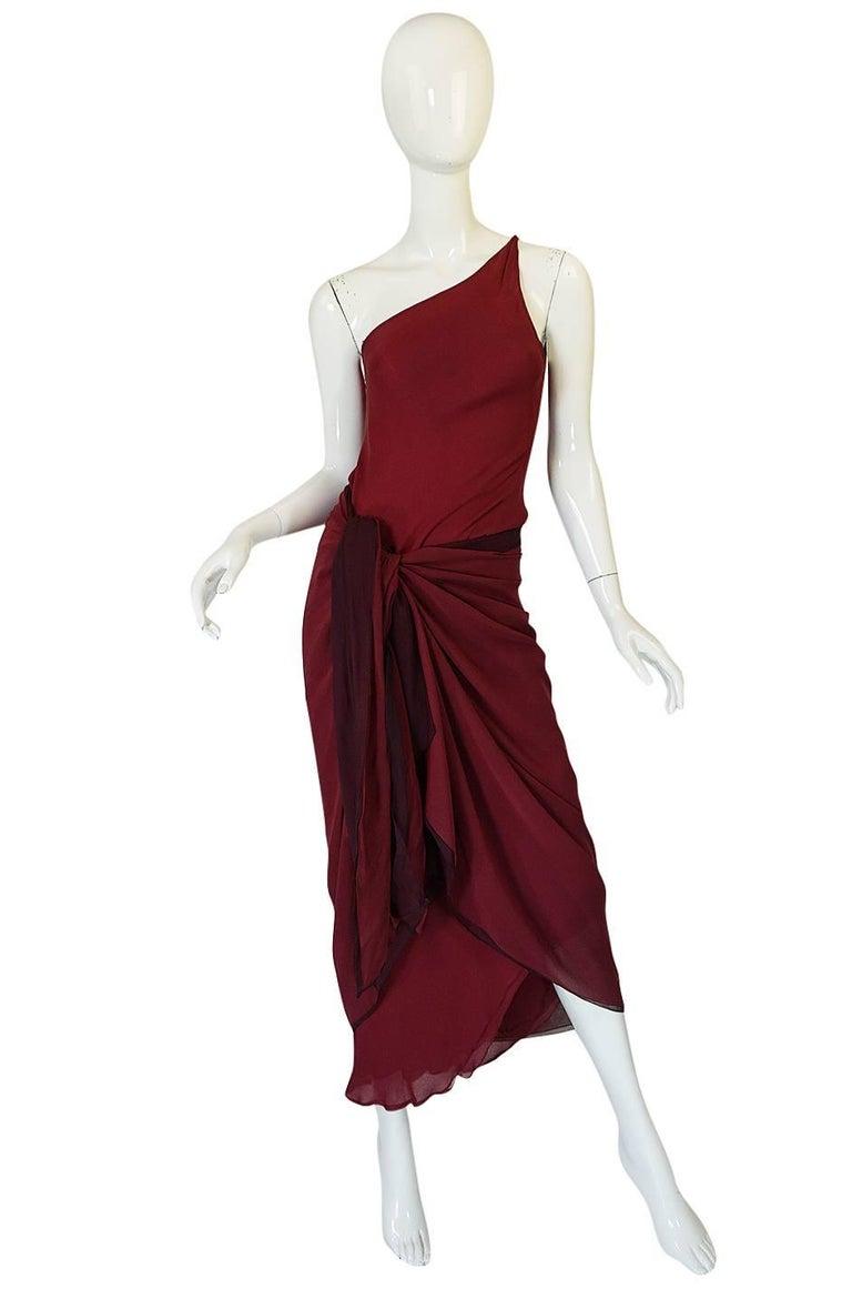 Women's Halston Couture Silk Chiffon Dress and Shawl Overlay, circa 1973  For Sale