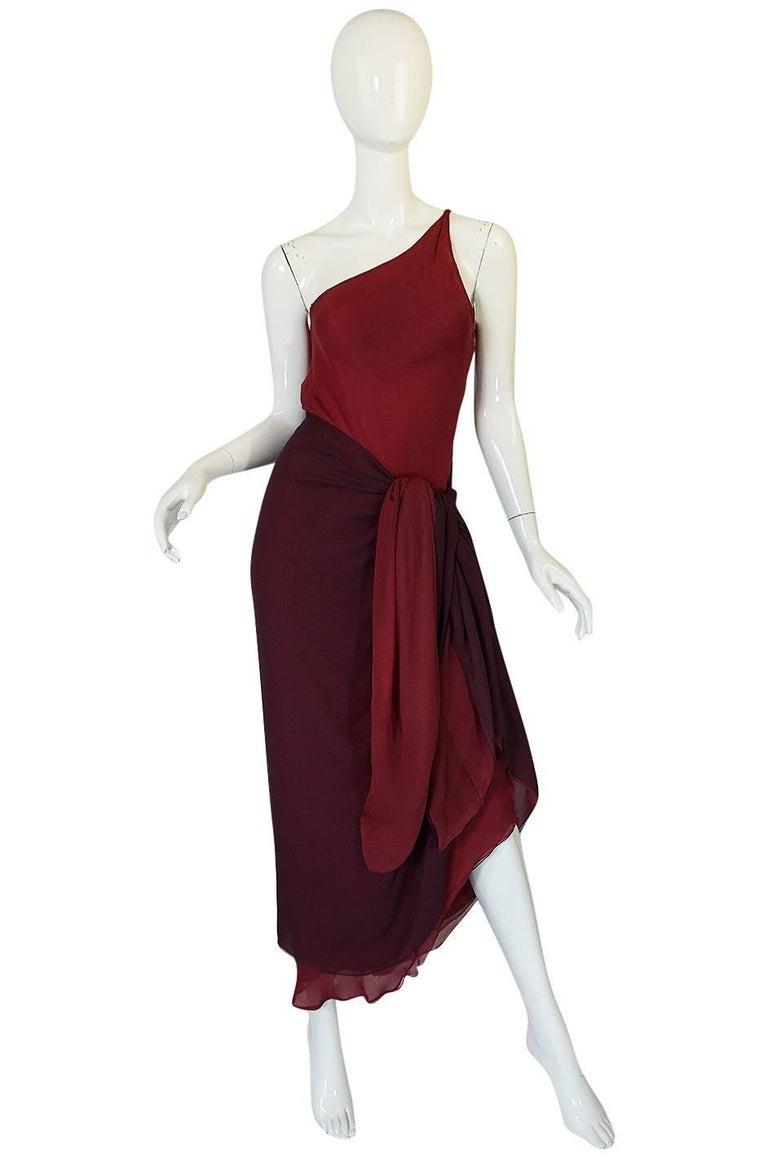 Halston Couture Silk Chiffon Dress and Shawl Overlay, circa 1973  For Sale 1