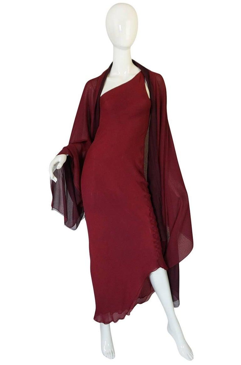Halston Couture Silk Chiffon Dress and Shawl Overlay, circa 1973  For Sale 2