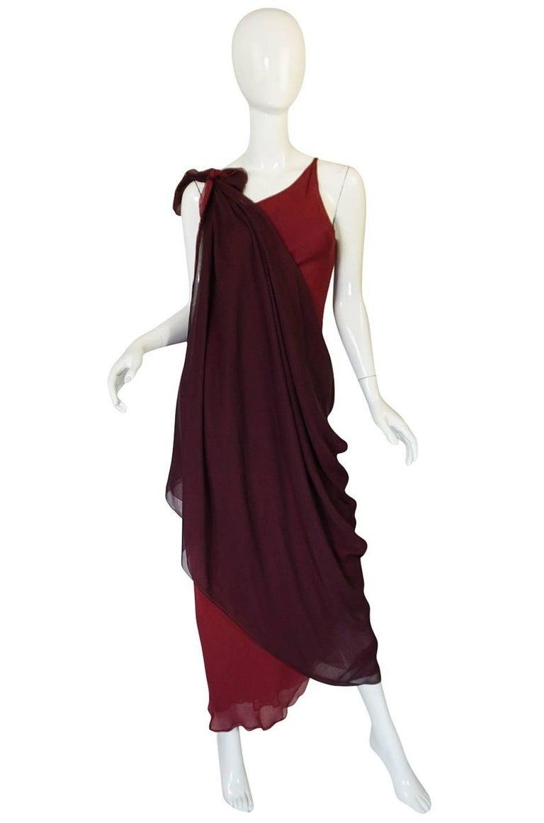 Halston Couture Silk Chiffon Dress and Shawl Overlay, circa 1973  For Sale 3