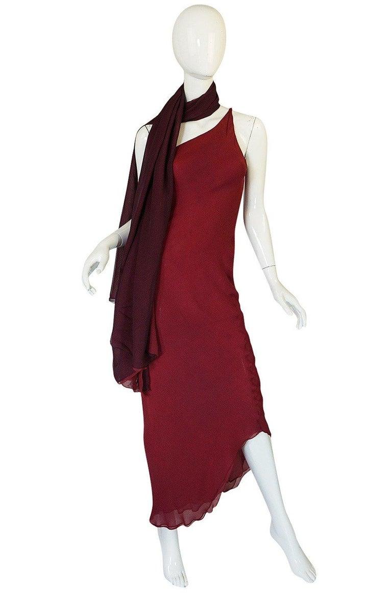 Halston Couture Silk Chiffon Dress and Shawl Overlay, circa 1973  For Sale 4