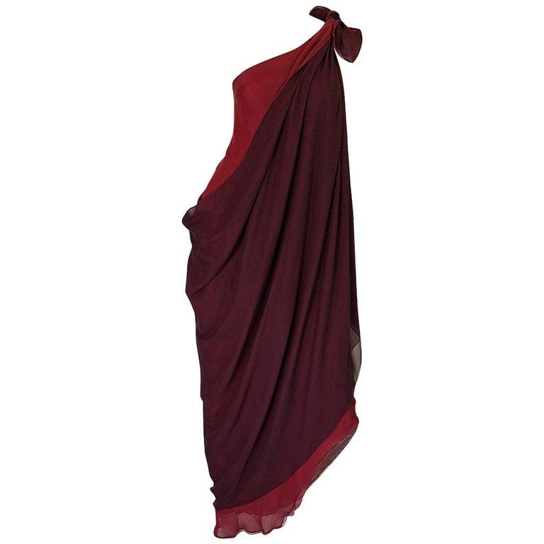 Halston Couture Silk Chiffon Dress and Shawl Overlay, circa 1973  For Sale