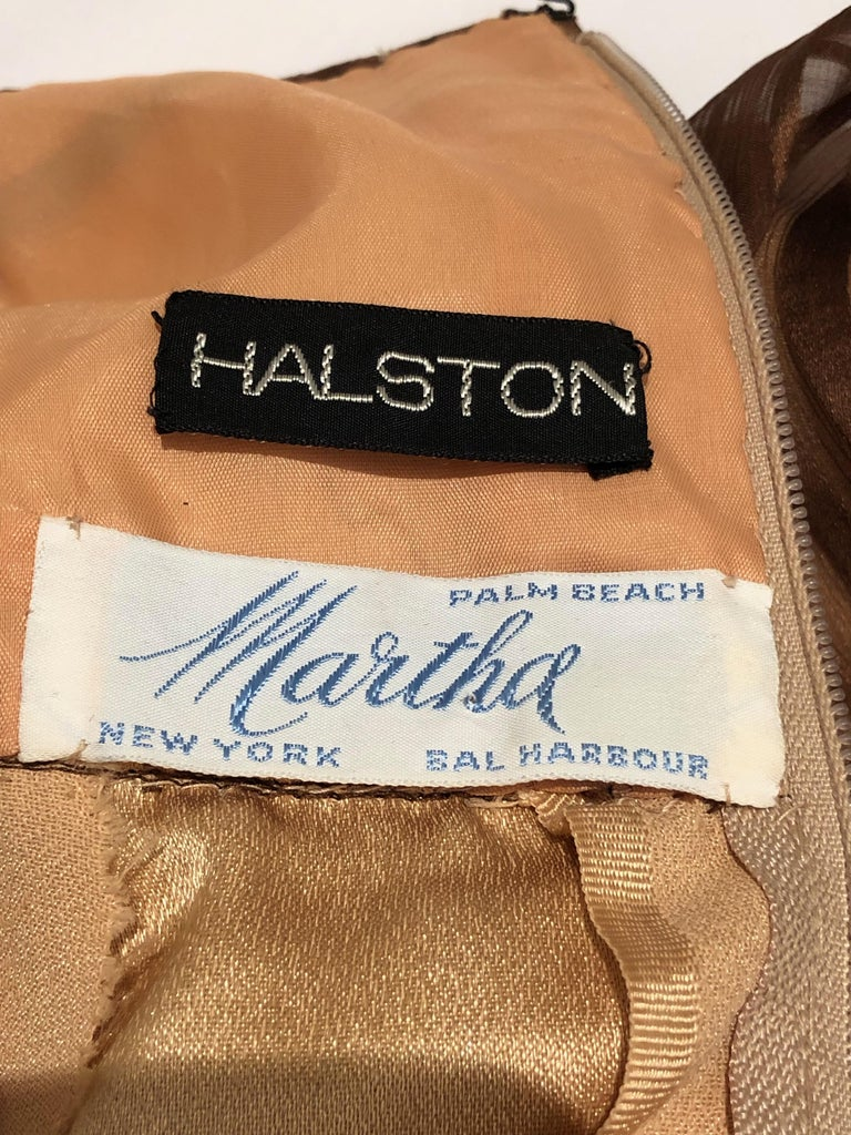 Halston for Martha Park Ave 1970's Beaded Chiffon Empire Dress with Collar Cape For Sale 8