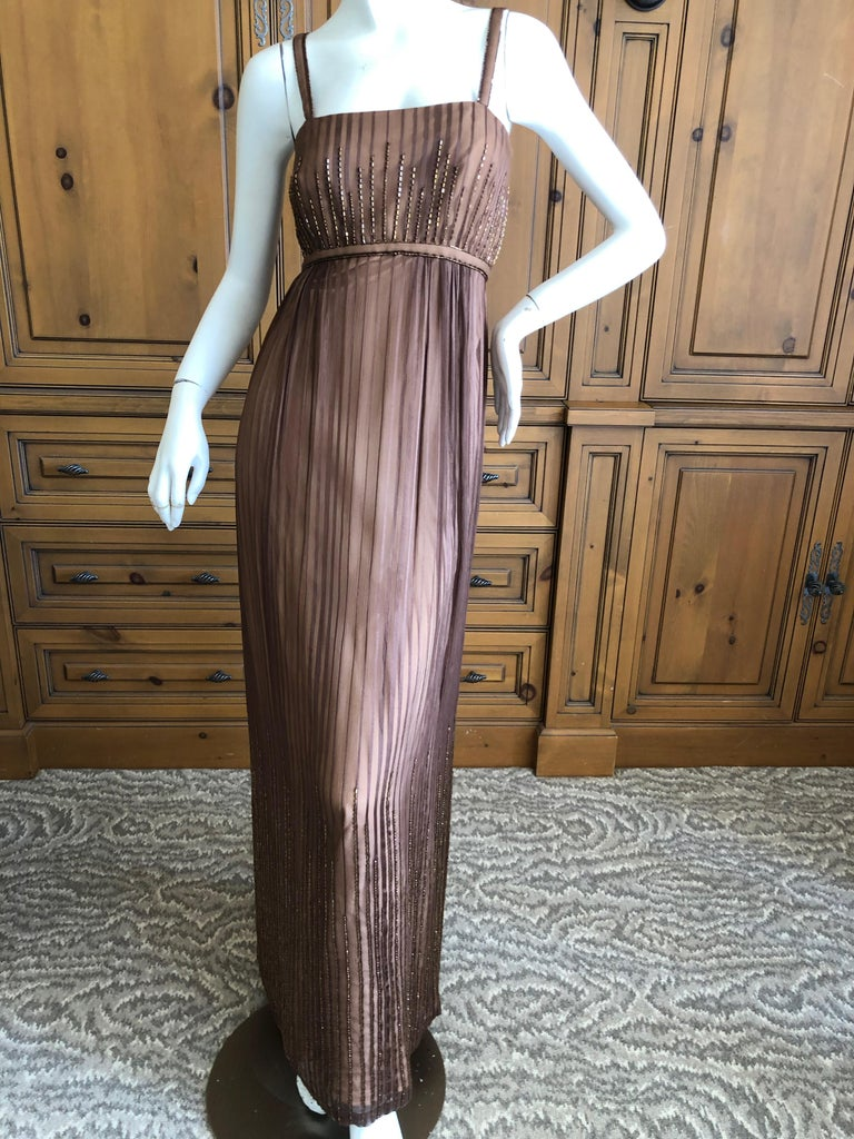 Halston for Martha Park Ave 1970's Beaded Chiffon Empire Dress with Collar Cape. Bugle bead details o the dress match the bead trim on the collar , which has two long trailing scarves, so chic. There is no size label Bust 34