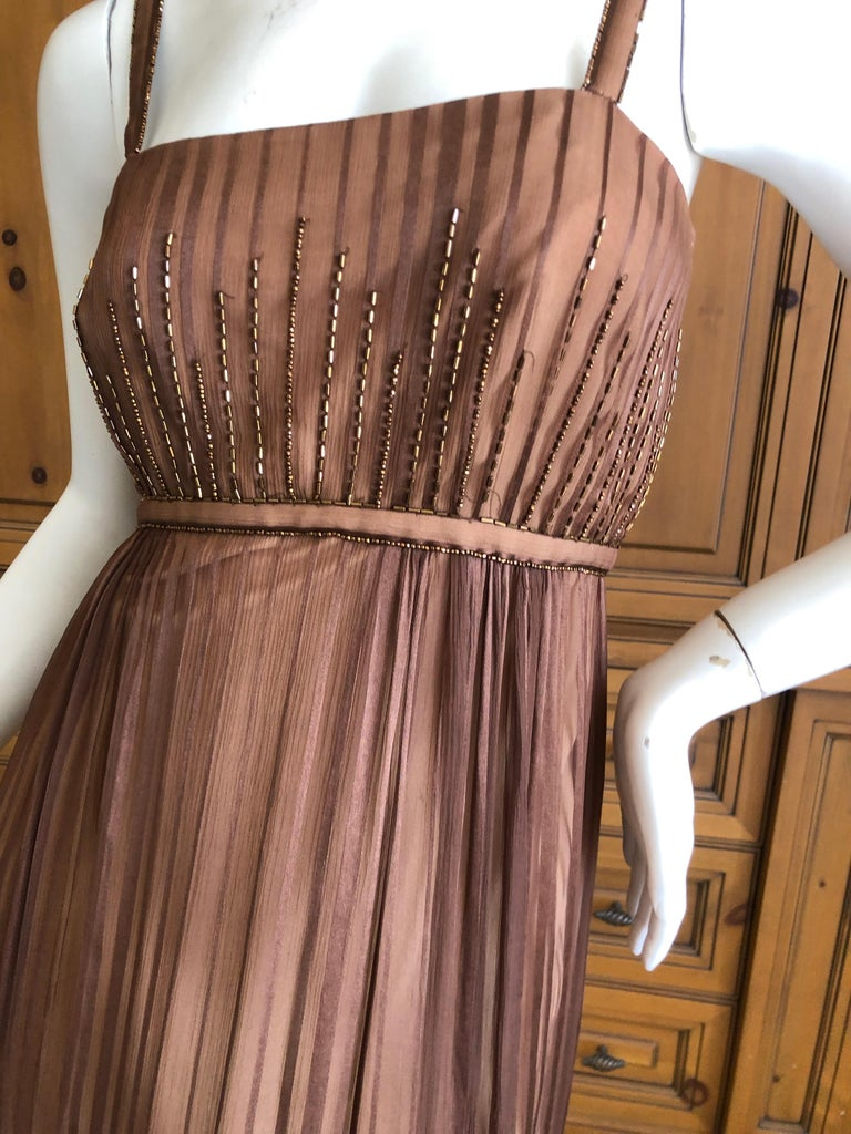 Brown Halston for Martha Park Ave 1970's Beaded Chiffon Empire Dress with Collar Cape For Sale