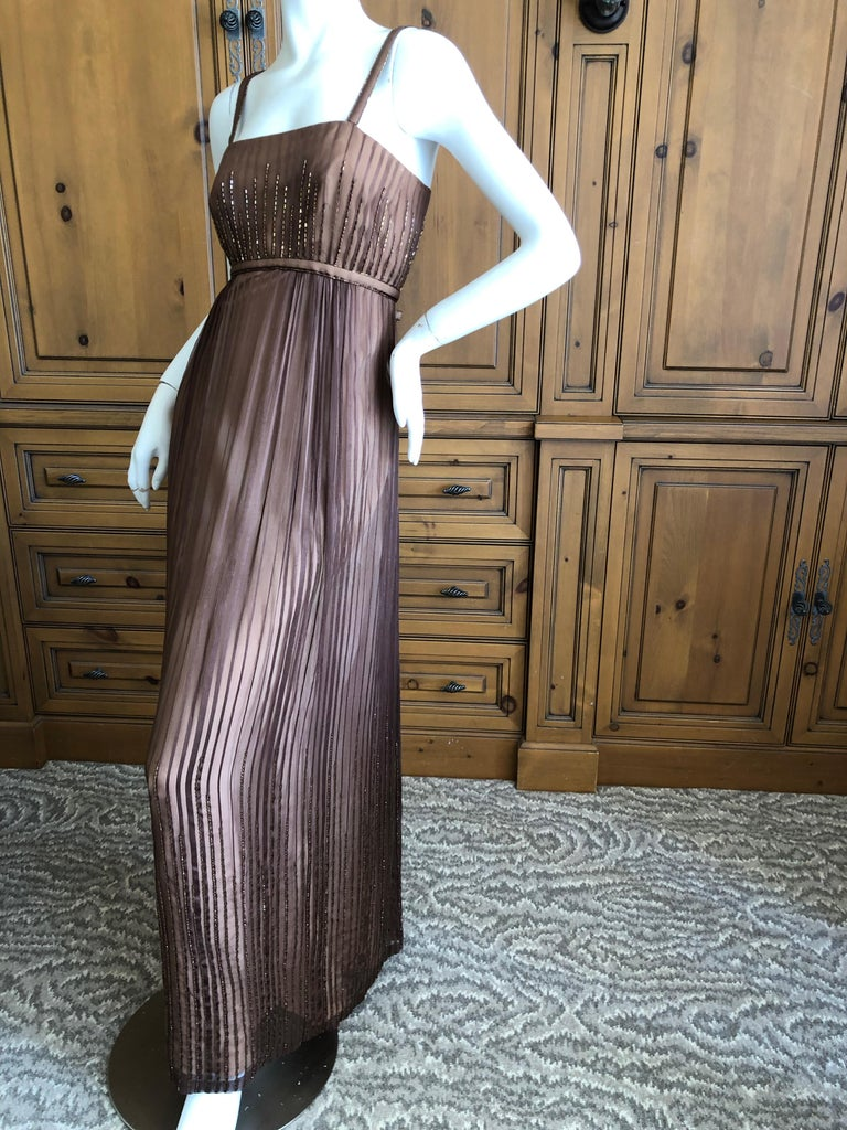 Halston for Martha Park Ave 1970's Beaded Chiffon Empire Dress with Collar Cape In Excellent Condition For Sale In San Francisco, CA