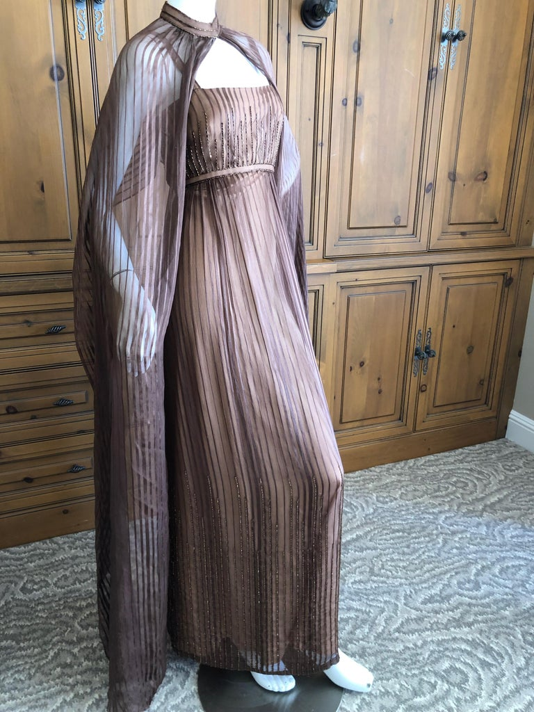 Halston for Martha Park Ave 1970's Beaded Chiffon Empire Dress with Collar Cape For Sale 2