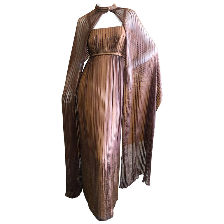 Halston for Martha Park Ave 1970's Beaded Chiffon Empire Dress with Collar Cape For Sale