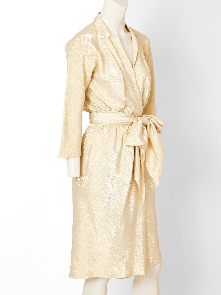 White Halston Gold Lamé Wrap Dress For Sale
