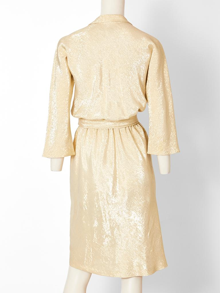 Halston Gold Lamé Wrap Dress In Good Condition For Sale In New York, NY