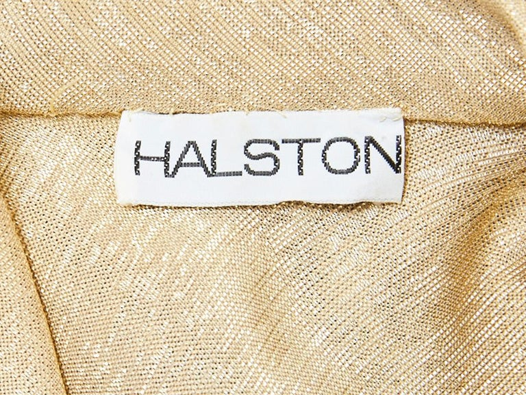 Women's Halston Gold Lamé Wrap Dress For Sale