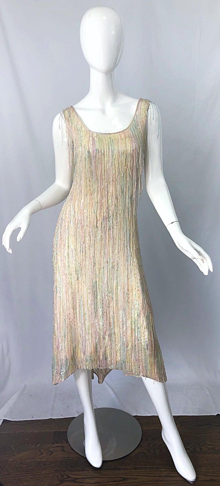 Halston MET Musuem 1970s Fully Fringed Beaded Flapper Style Vintage 70s Dress For Sale 5